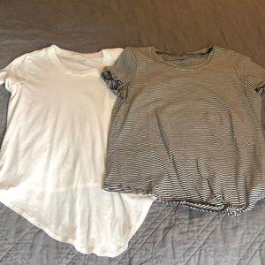 Madewell Knot Front Tees White & Black Stripe